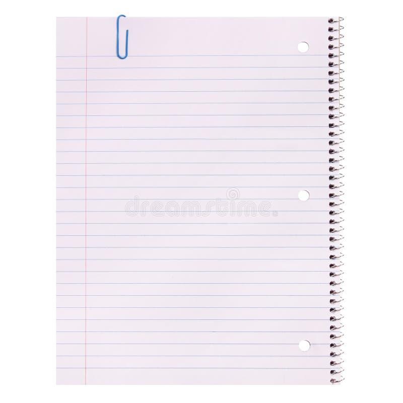 Papel del cuaderno aislado Espacio en blanco alineado fotos de archivo