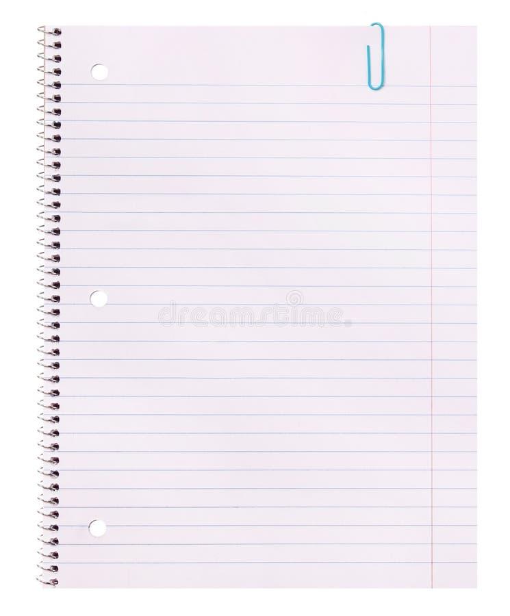 Papel del cuaderno Espacio en blanco alineado imagen de archivo libre de regalías