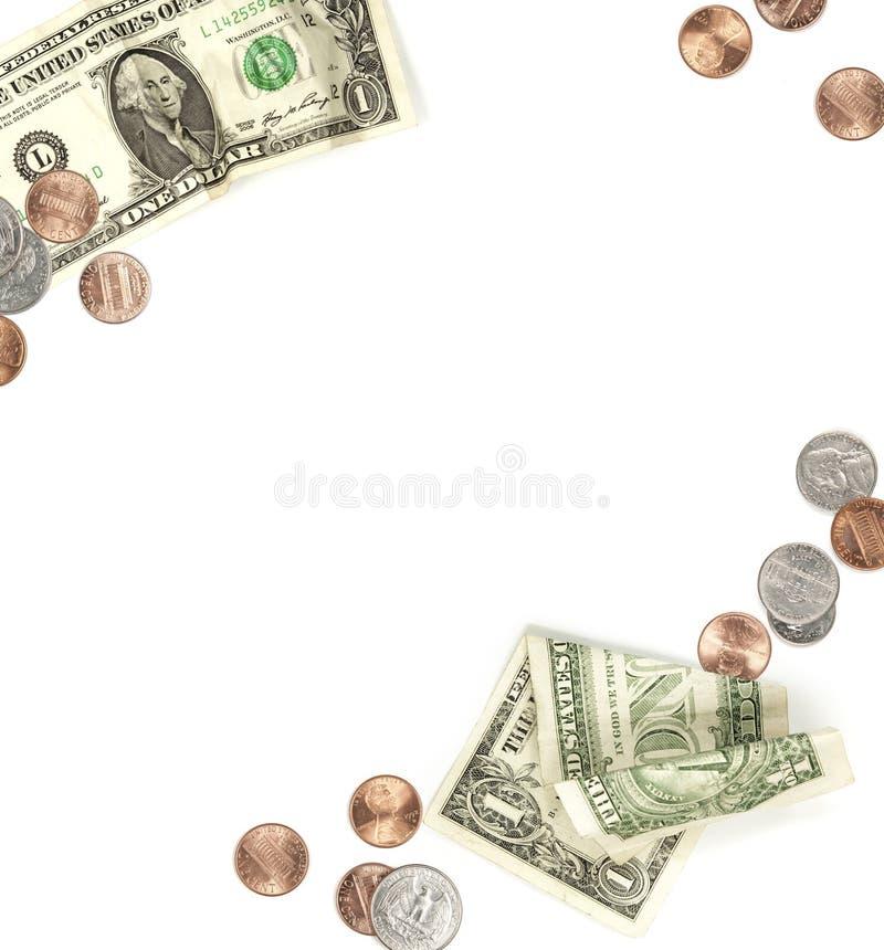 Papel del dinero y frontera del dinero en circulación de la moneda fotografía de archivo