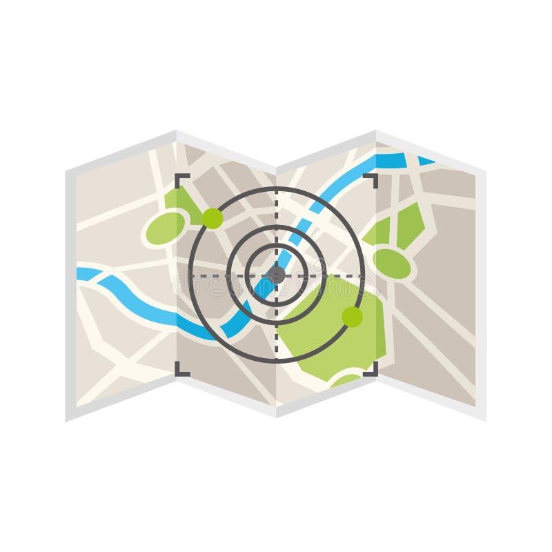 Papel del mapa con la blanco stock de ilustración