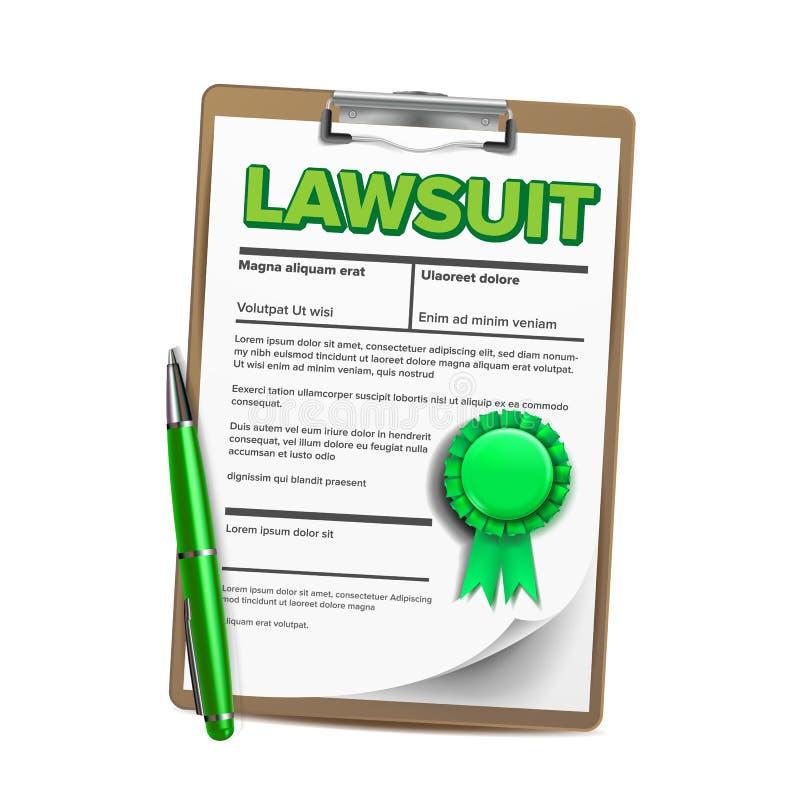 Papel del pleito, demanda legal, ejemplo realista del vector del documento ilustración del vector