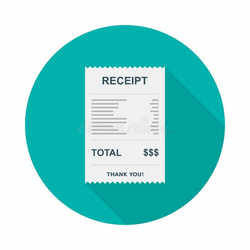 Papel del recibo, control de Bill, factura, recibo de efectivo, pago de la utilidad, vector, icono plano libre illustration