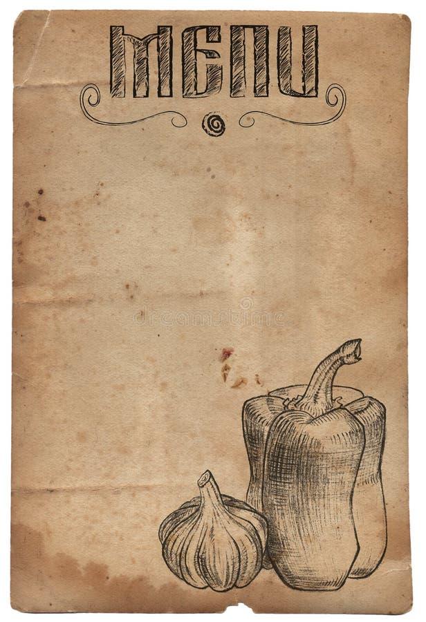 Papel del vintage con pimienta y ajo dibujados mano La cena de boda con la carne del rodillo fumó y los tomates libre illustration