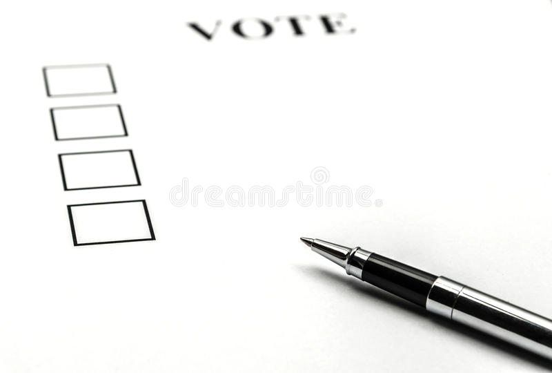 Papel del voto fotografía de archivo libre de regalías