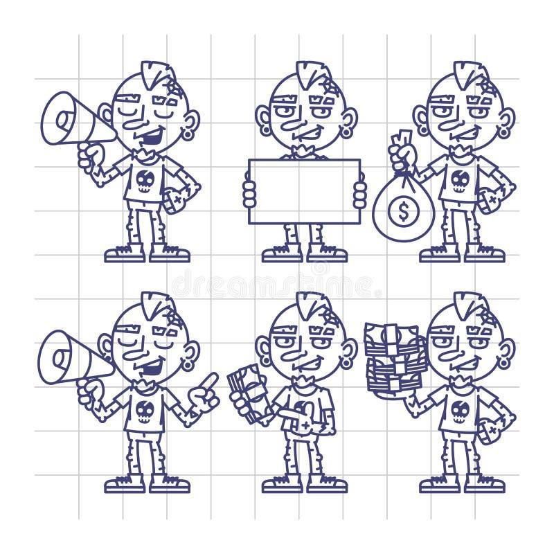 Papel determinado de Holding Megaphone Money del artista del tatuaje del carácter del bosquejo stock de ilustración