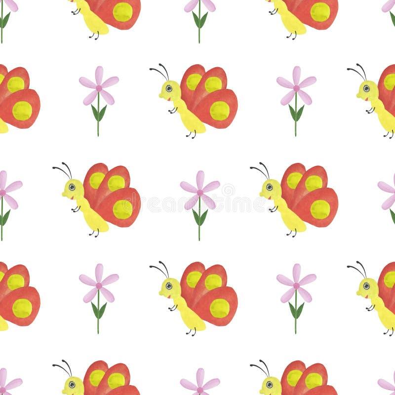 Papel digital de matérias têxteis sem emenda do papel de parede das salas de crianças do projeto da borboleta da ilustração das c ilustração do vetor