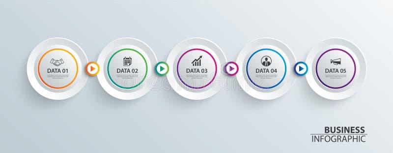 Papel do círculo do espaço temporal de Infographics com molde horizontal de 5 dados Fundo do sumário da ilustração do vetor pode  ilustração do vetor