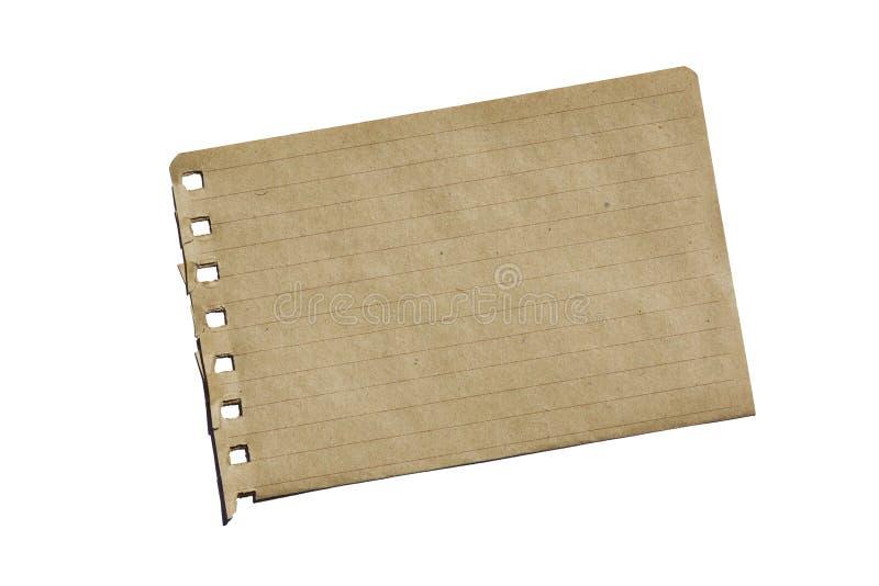 Papel do caderno de Brown imagem de stock