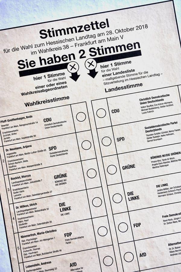Papel do cartão da cédula para a eleição do estado de Hesse em outubro de 2018 imagem de stock royalty free