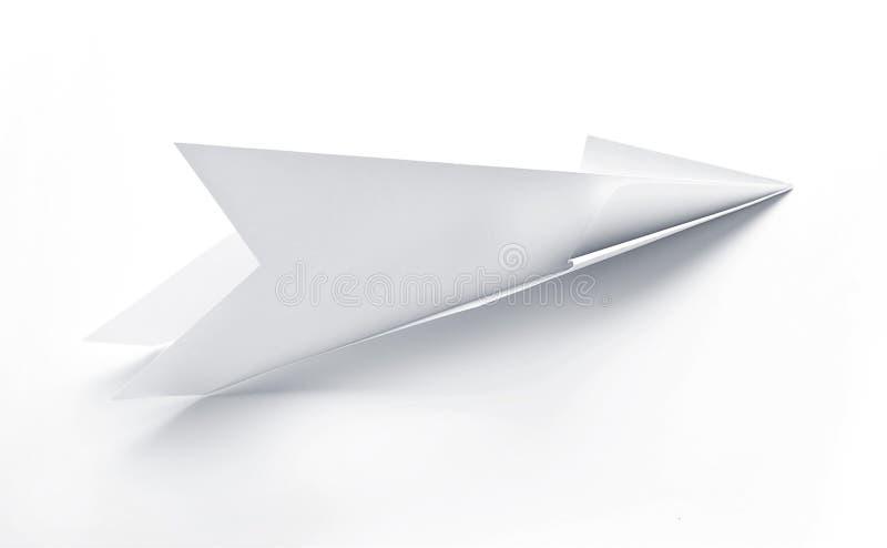 Papel do foguete dos aviões feito à mão no fundo branco fotografia de stock