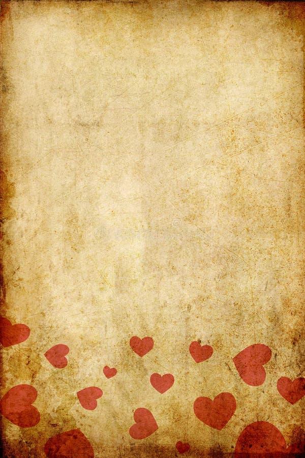 Papel do grunge do vintage com coração vermelho foto de stock