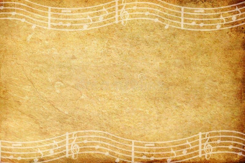 Papel do grunge e nota velhos da música com espaço ilustração stock