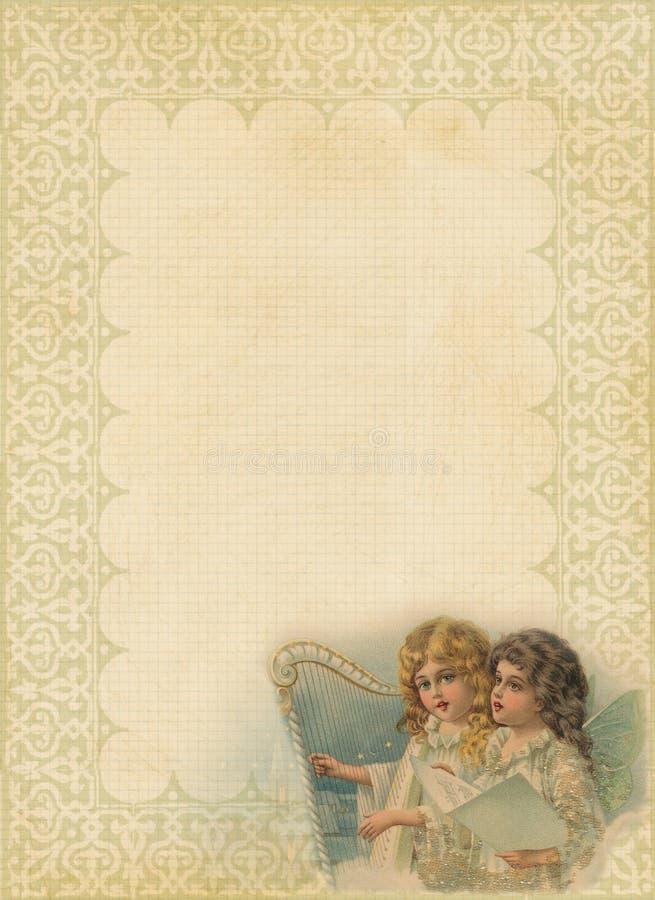 Papel do Natal com frame e anjos extravagantes ilustração royalty free