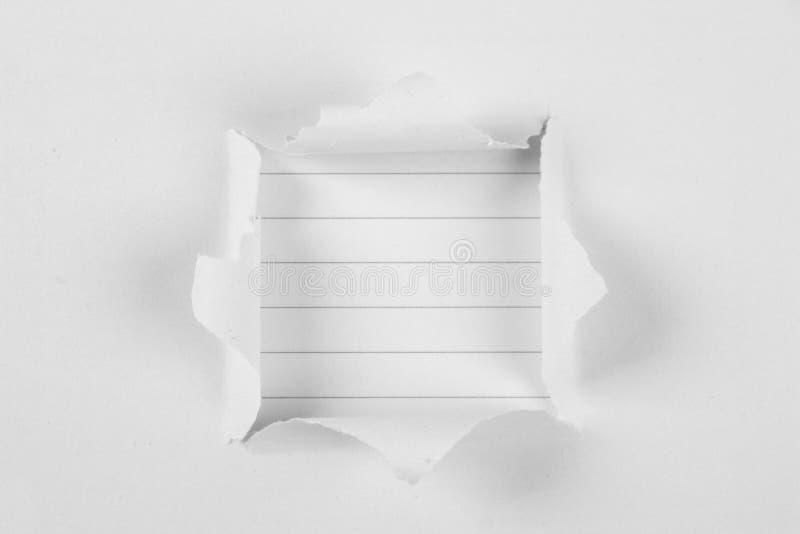 Papel do rasgo com papel de nota fotos de stock royalty free