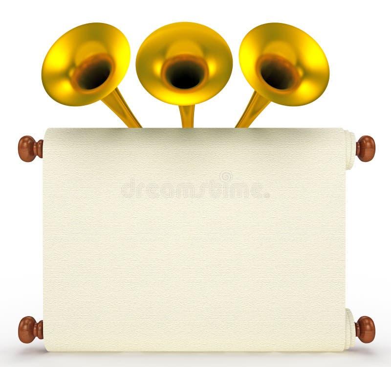 Papel do rolo com trombetas douradas ilustração royalty free