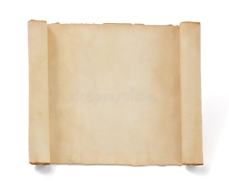 Papel do rolo do pergaminho isolado no branco foto de stock royalty free