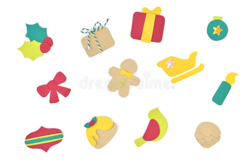 Papel do símbolo do Natal cortado no fundo branco ilustração stock