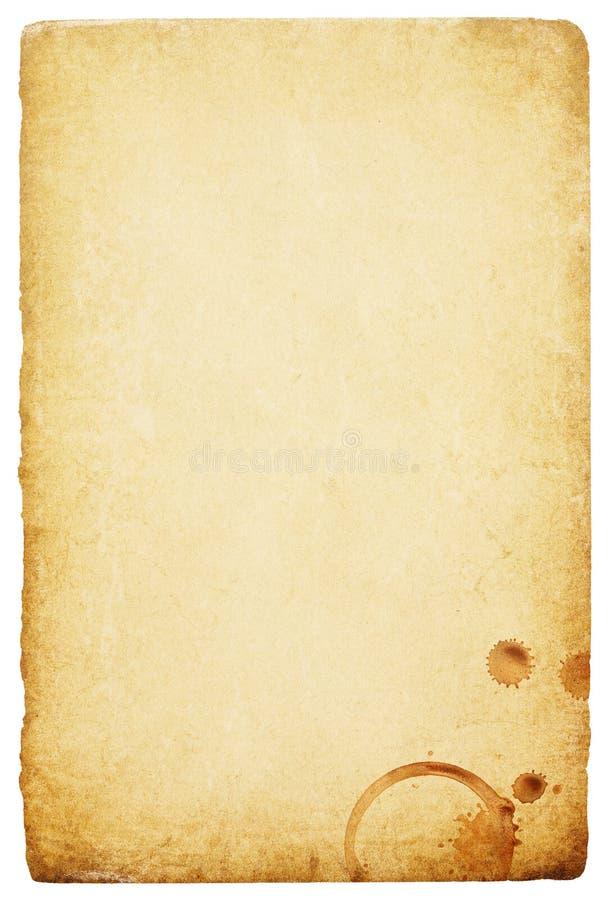 Papel do vintage com mancha dos anéis de café. fotos de stock