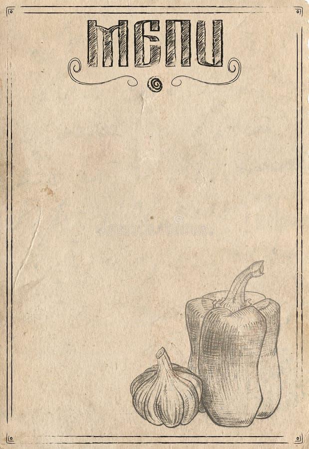 Papel do vintage com pimenta e alho tirados mão O jantar de casamento com carne do rolo fumou e tomates ilustração stock