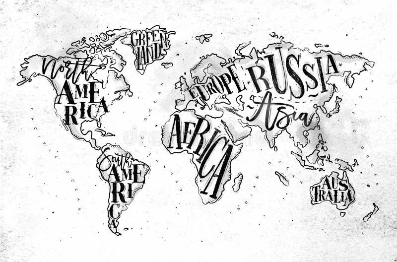 Papel do vintage de Worldmap ilustração do vetor