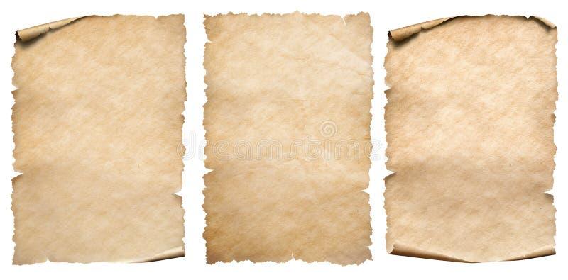 Papel do vintage ou coleção dos pergaminhos isolada no branco foto de stock royalty free