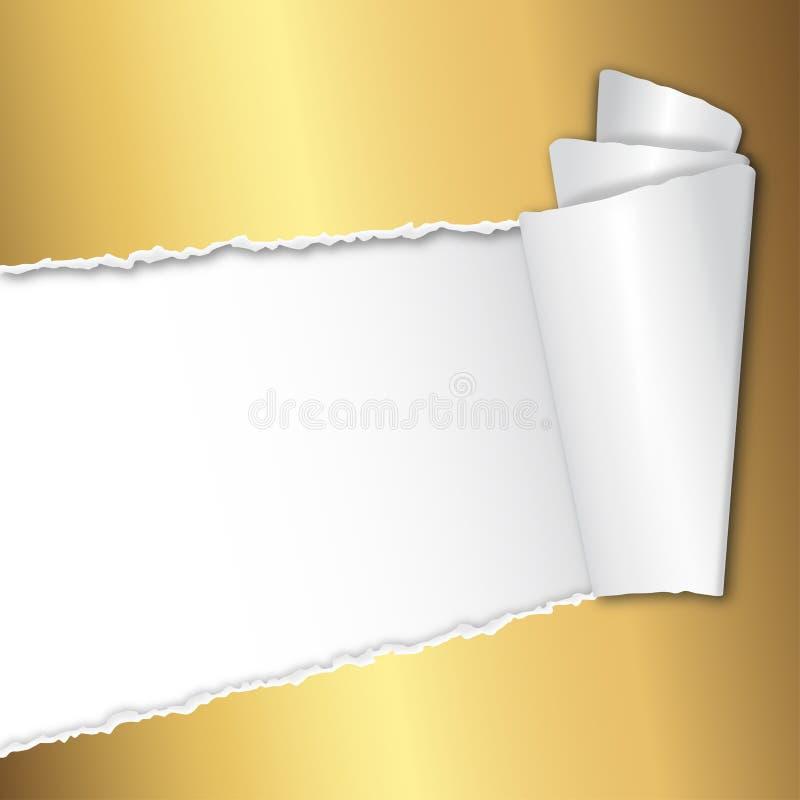Papel dourado aberto rasgado com espaço para o texto ilustração stock