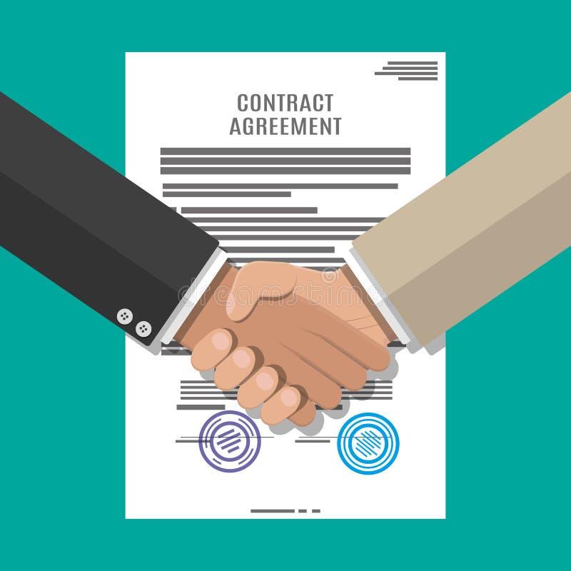 Papel e aperto de mão do acordo de contrato ilustração do vetor