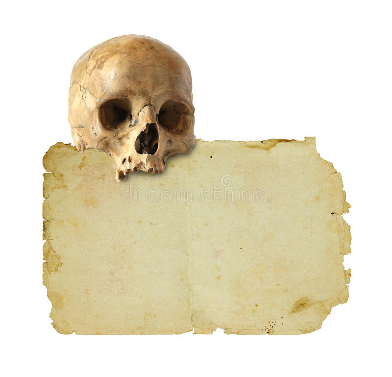 Papel e crânio velhos imagem de stock royalty free