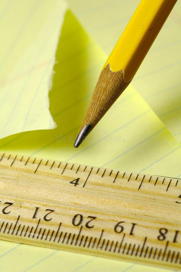 Papel e lápis imagem de stock