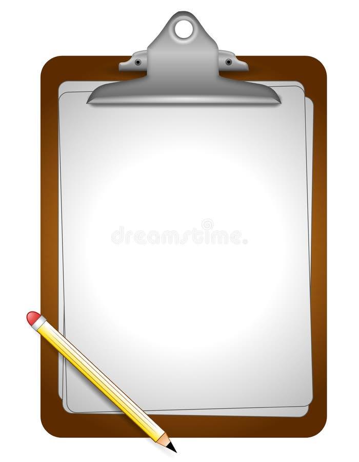 Papel e lápis da prancheta ilustração do vetor