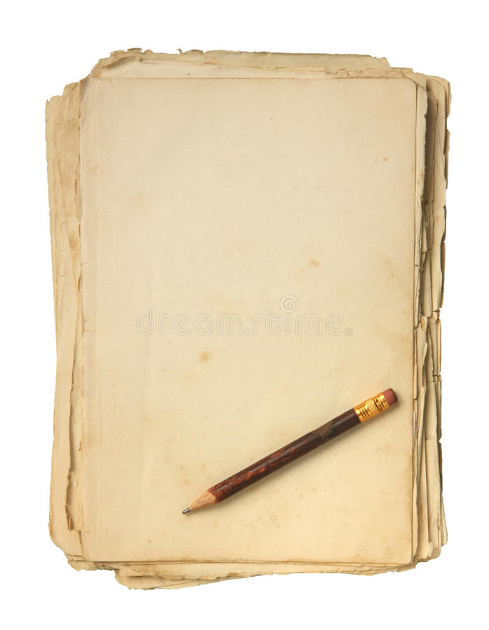 Papel e lápis velhos. foto de stock royalty free