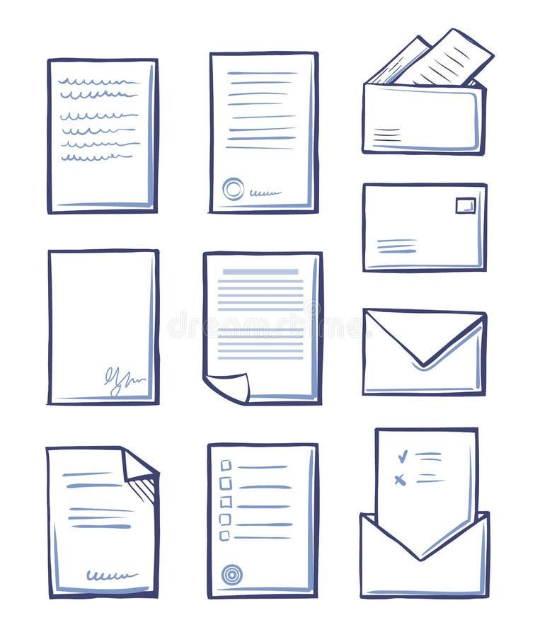 Papel e mensagens do escritório no vetor dos envelopes ilustração stock