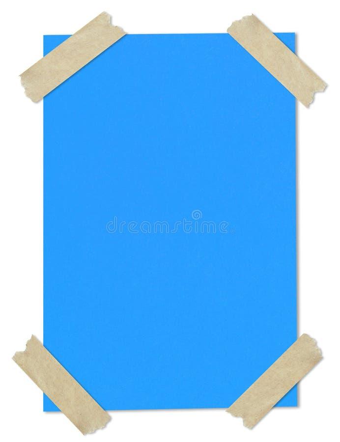 Papel em branco azul furado com fita imagens de stock