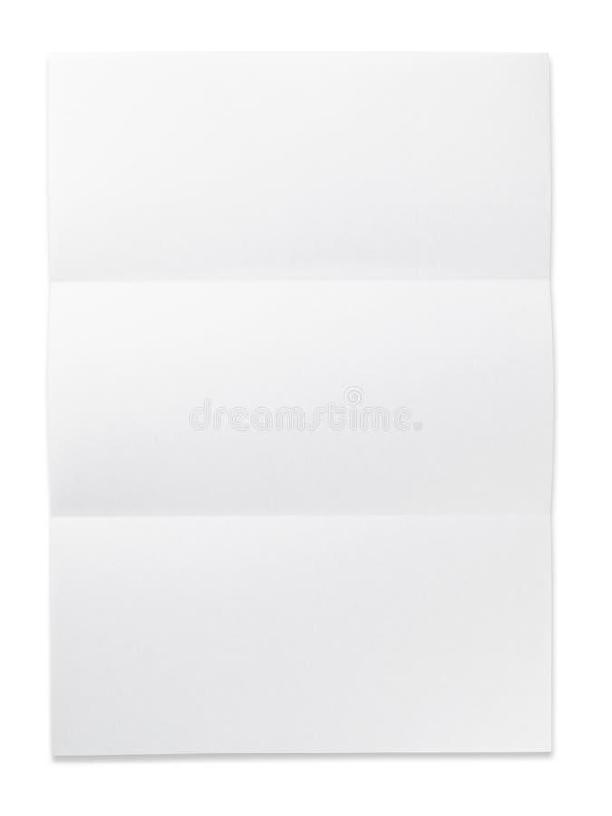 Papel em branco com marca da dobra. isolado no branco. fotografia de stock royalty free