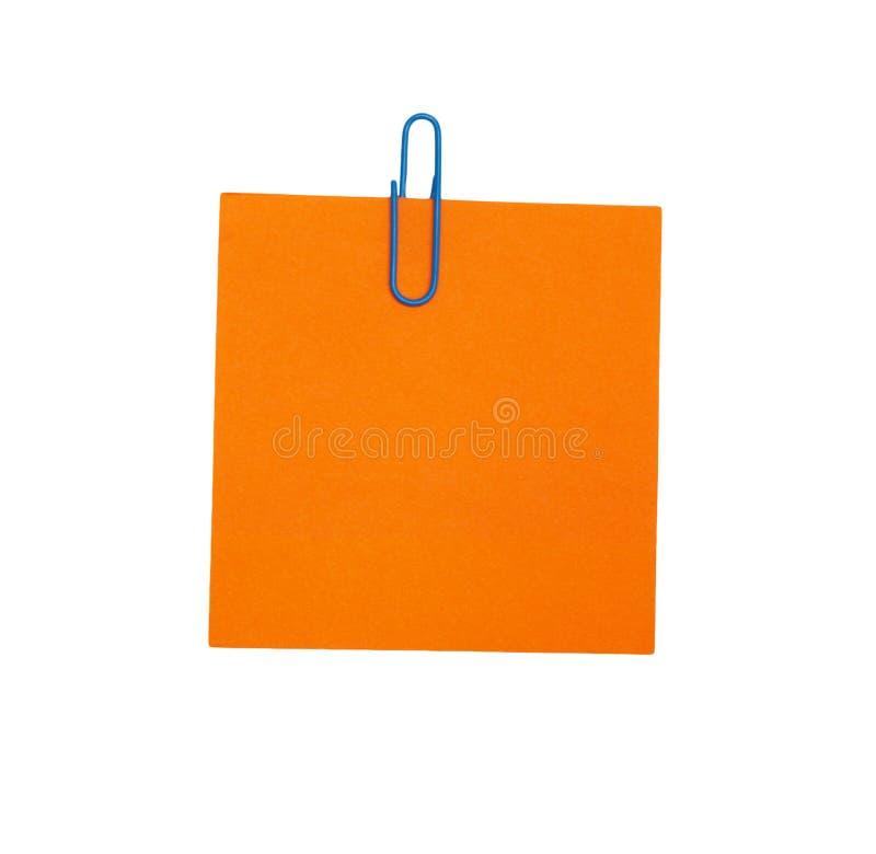 Papel en blanco anaranjado fotografía de archivo