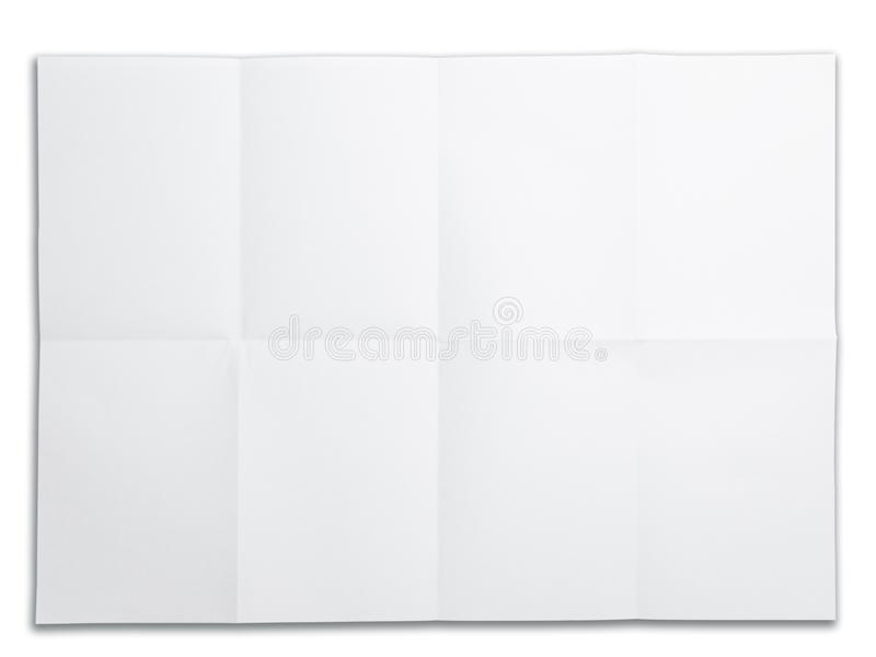 Papel en blanco con la marca del doblez. aislado en blanco. fotografía de archivo libre de regalías