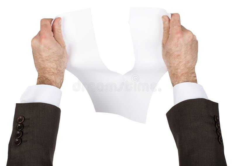 Papel en blanco del rasgón del hombre de negocios imágenes de archivo libres de regalías