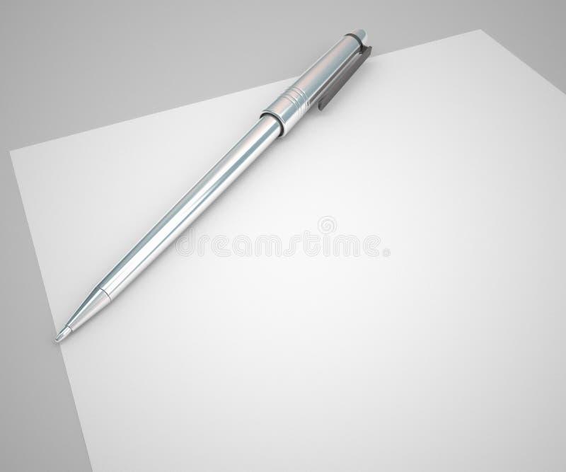 Papel en blanco y lápiz del concepto del contrato stock de ilustración