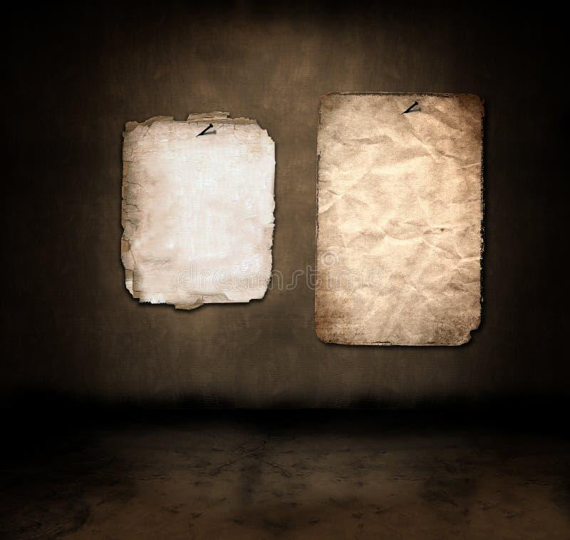 Papel en un cuarto oscuro ilustración del vector