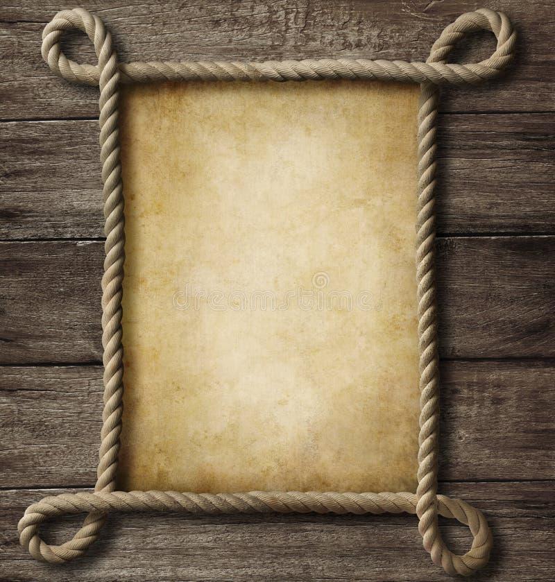 Papel envejecido con el marco de la cuerda libre illustration