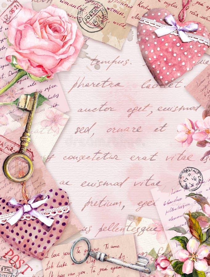 Papel envejecido con flores de rosa, letras escritas a mano, llaves, rosas, corazones textiles rosas. Tarjeta de cosecha ilustración del vector