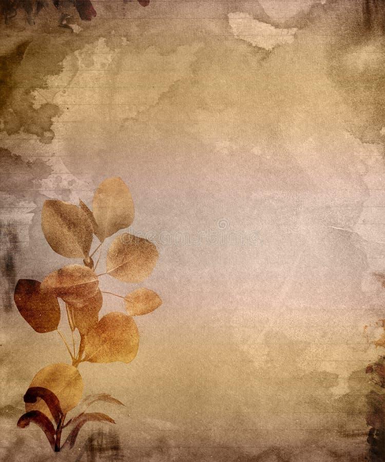 Papel envejecido con las hojas stock de ilustración