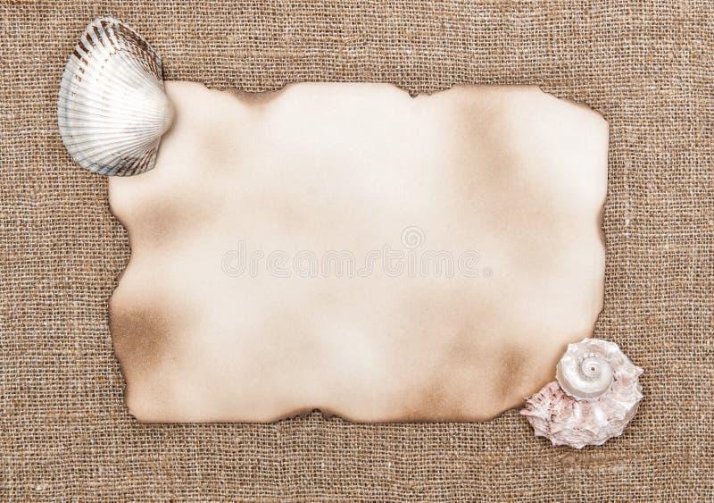 Papel envelhecido com shell do mar no fundo de despedida imagens de stock