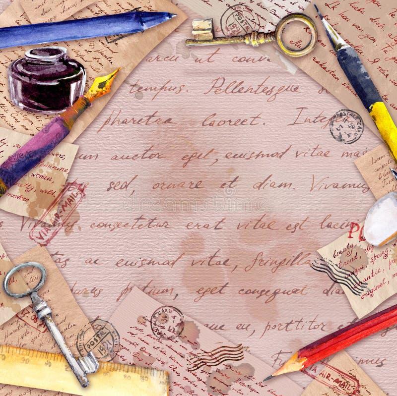 Papel envelhecido, letras, texto escrito da mão, pena do vintage, lápis, garrafa de tinta Cartão do vintage, placa, quadro fotografia de stock royalty free
