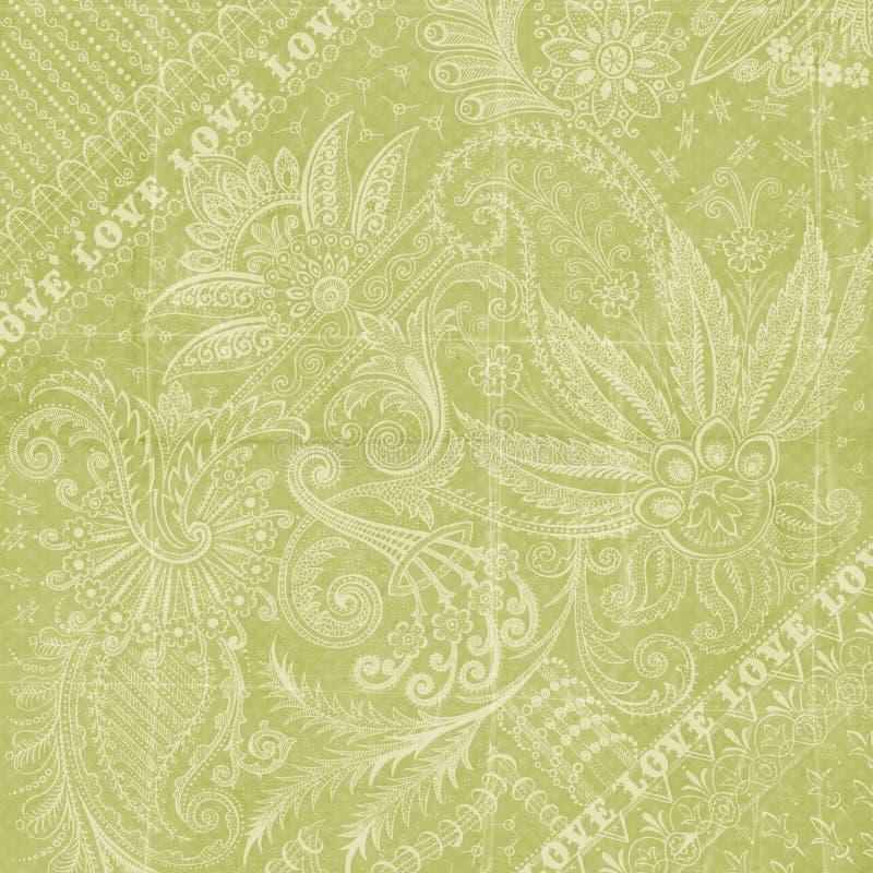 Papel floral verde do scrapbook do fundo do amor