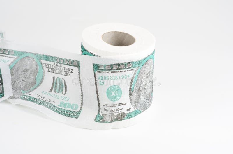 Papel higiénico com usd fotografia de stock