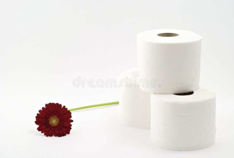 Papel higiénico con la flor imagen de archivo