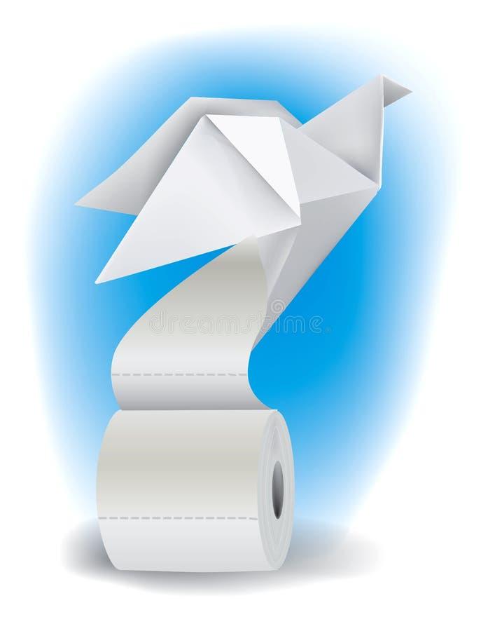Papel higiénico con la paloma de la papiroflexia ilustración del vector