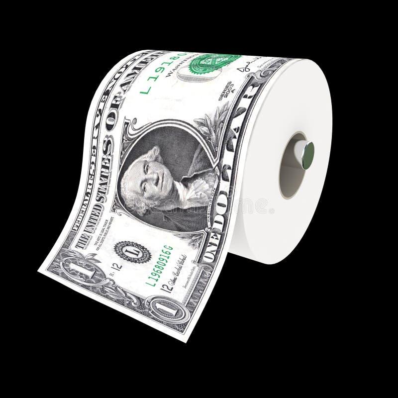 Papel higiénico do dólar ilustração stock