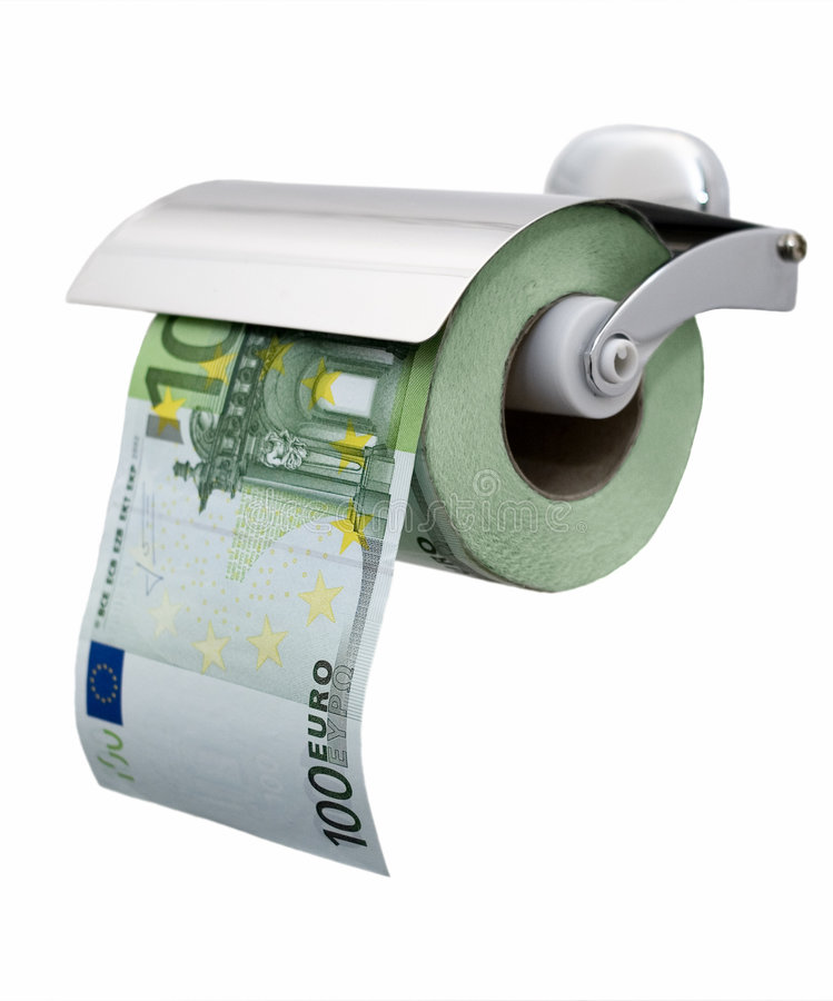 Papel higiénico do euro 100 (separado) imagem de stock royalty free